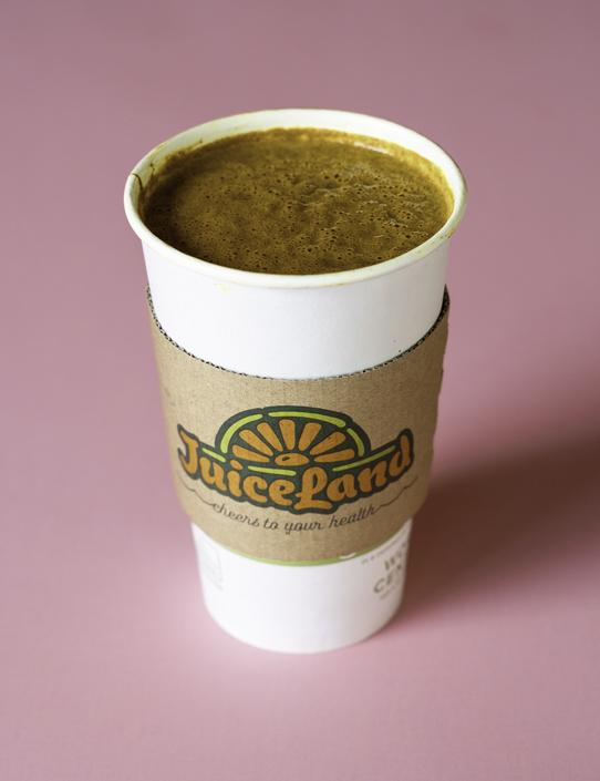 JuiceLand Golden Mylk Coffee Latte with cold brew coffee, hemp seed, date, turmeric, coconut oil, cinnamon, vanilla