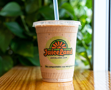 JuiceLand Moontower Smoothie with almond milk, banana, cacao powder, brown rice protein, date