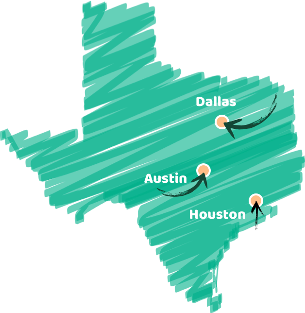 Texas map with JuiceLand locations in Austin Dallas and Houston