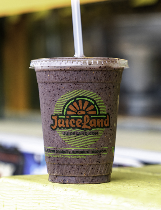 juiceland originator smoothie with apple, banana, blueberry, cherry, peanut butter, brown rice protein, flax oil, spirulina