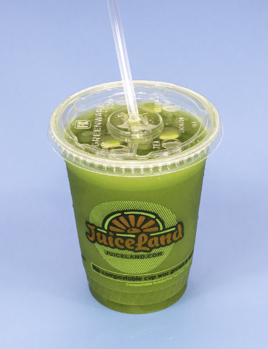 JuiceLand Tigerlilly Juice with cucumber, celery, kale, parsley, spinach