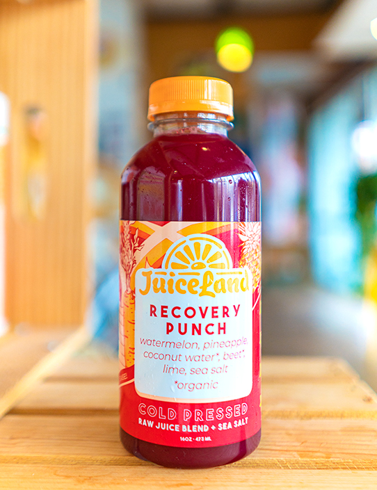 JuiceLand Recovery Punch Cold Pressed Raw Juice with watermelon, pineapple, coconut water, beet, lime, sea salt